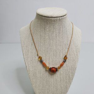 Cognac Amber Necklace Beaded Cord Brown Orange Sil